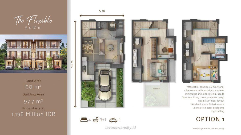 Denah Rumah Cluster Osaka Daisan Lavon - The Flexible Opsi 1