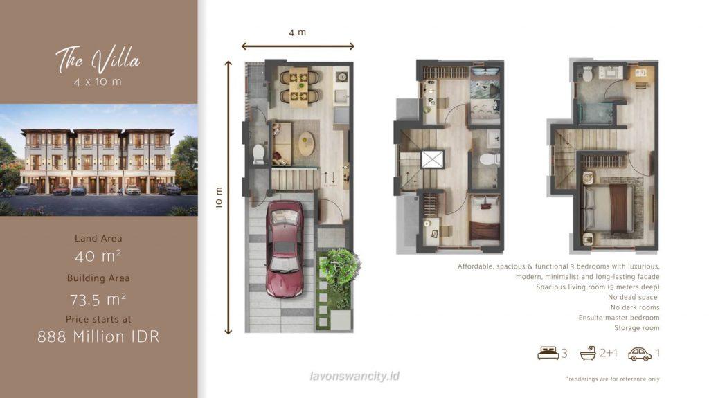Denah Rumah Cluster Osaka Daisan Lavon - The Villa